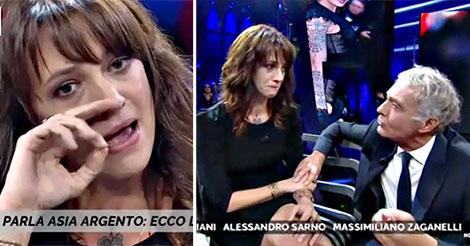 Asia Argento in lacrime da Giletti: ''Fatemi tornare a X Factor, non ho fatto niente di male''