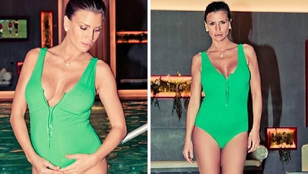 Claudia galanti bellissima con il pancione in piscina - Bagno in piscina in gravidanza ...