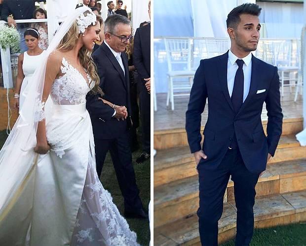 3bf58bfdfaab Susy accompagnata all altare dal papà e Marco in una foto scattata durante le  nozze