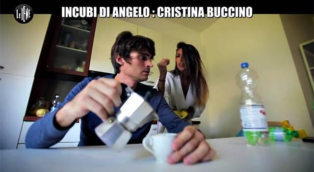 Cristina Buccino a Le Iene protagonista degli'Incubi di Angelo con Angelo Duro