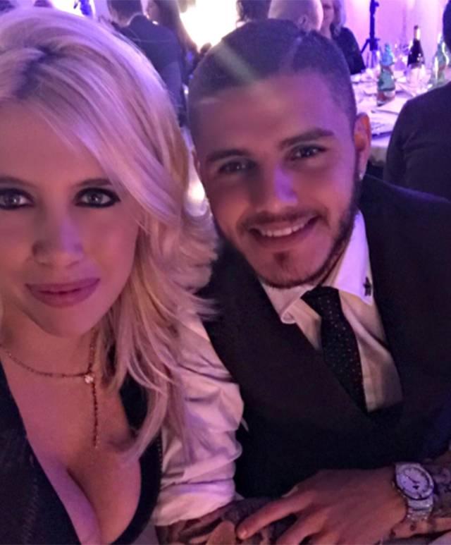 La 29enne alla cena dell'Inter con il marito Mauro Icardi