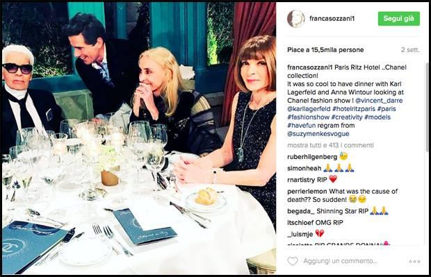 Franca appena due settimane fa a Parigi con Karl Lagerfeld e Anna Wintour