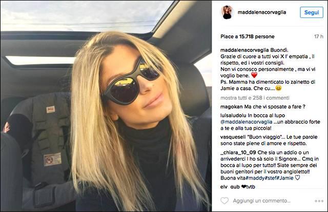 Maddalena Corvaglia, primo selfie dopo aver annunciato il divorzio: 'Grazie a tutti i voi'
