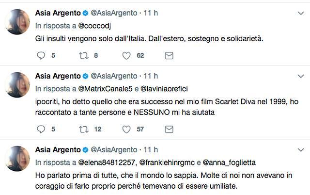 Asia Argento e il dito medio agli italiani: