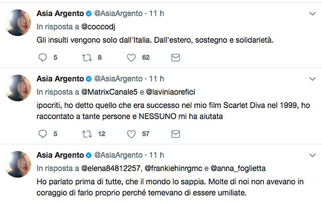 Asia Argento vittima del produttore Weinstein: i dettagli shock