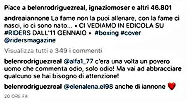 Belen Rodríguez confessa un segreto su Andrea Iannone