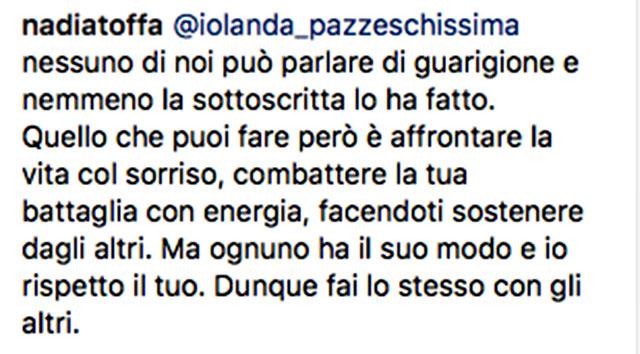 Nadia Toffa, critiche su Instagram: