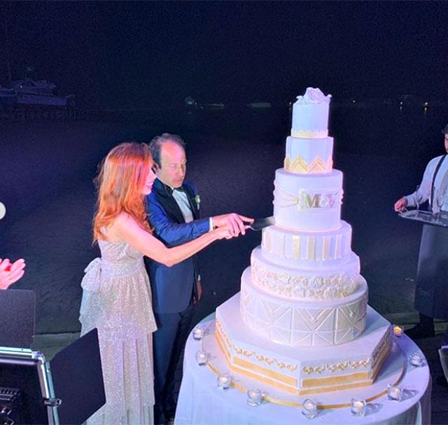Veronica Maya e Marco Moraci al taglio della torta