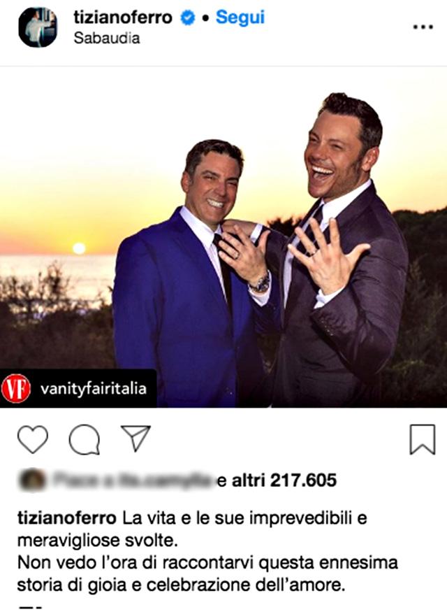 Il post con cui Tiziano ha annunciato di essersi sposato con Victor Allen