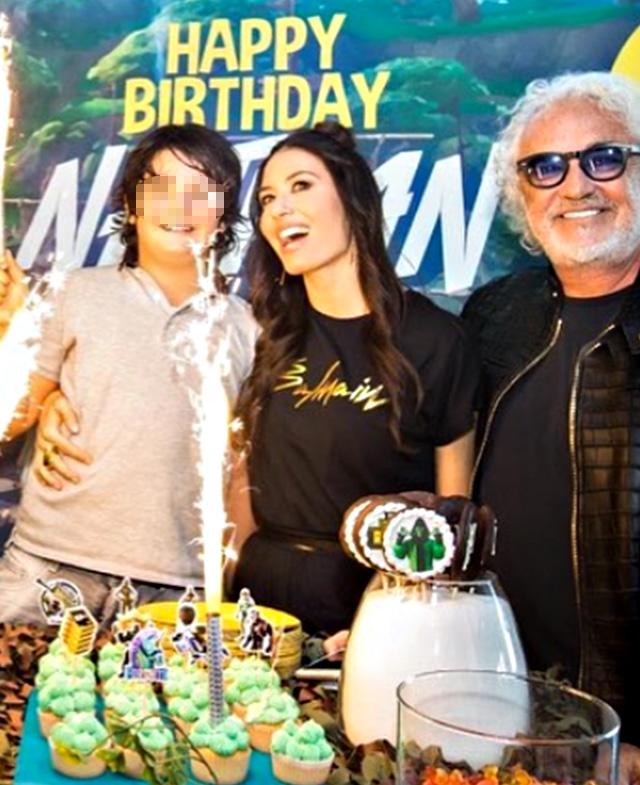 Elisabetta Gregoraci, 39 anni, insieme a Flavio Briatore, 69, e a loro figlio Nathan Falco, 9