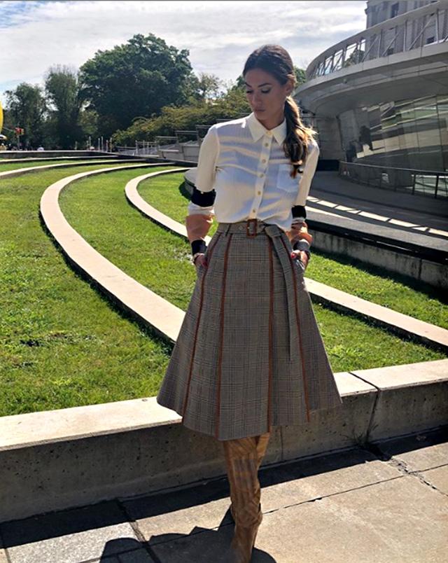 Un altro look molto chic di Melissa Satta alla settimana della moda di New York