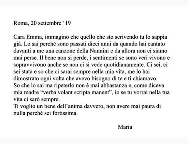 Il post con il messaggio di Maria per Emma