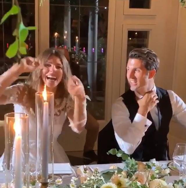 Cristina Chiabotto e Marco Roscio durante la cena del matrimonio