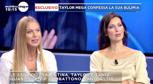 Taylor Mega nello studio del programma tv si confronta sul suo disturbo alimentare