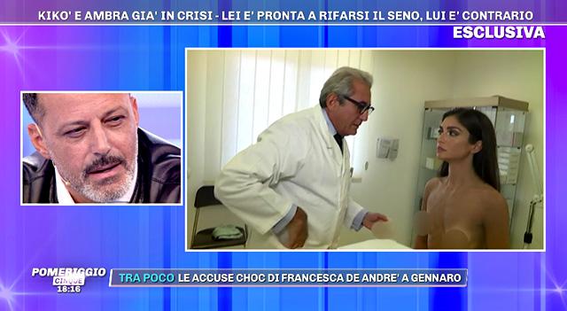 Durante la puntata di Pomeriggio Cinque è stata mandata in onda anche la visita che Ambra ha fatto con il chirurgo in vista dell'intervento, fissato per venerdì 27 settembre