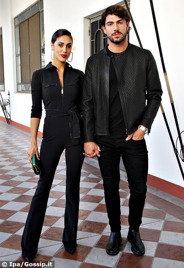 Cecilia Rodriguez, 29 anni, e Ignazio Moser, 27, mano nella mano con look coordinati alla sfilata di Elisabetta Franchi