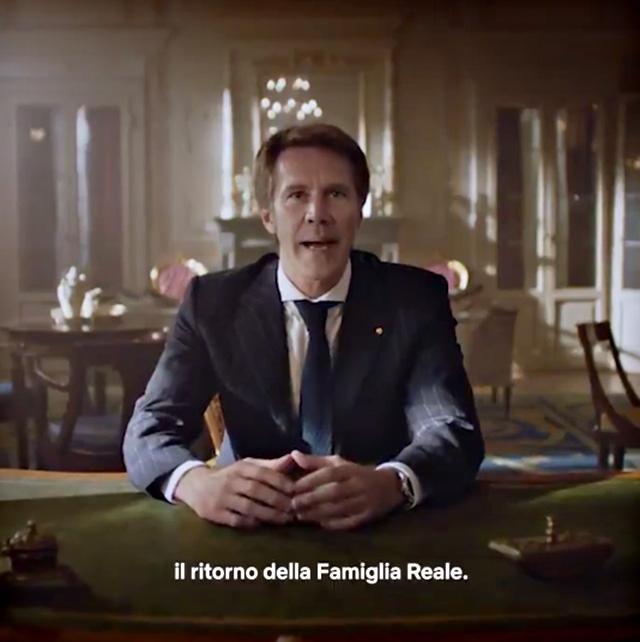 Un momento del video-messaggio con cui Emanuele Filiberto ha annunciato il ''ritorno della famiglia reale''