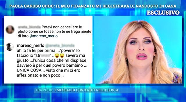 Paola Caruso dalla D'Urso è un fiume in piena