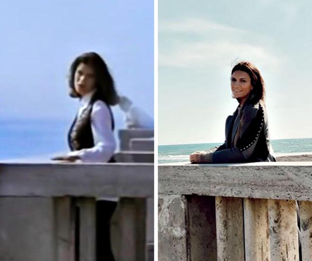 Laura Pausini 19 anni nel videoclip de 'La Solitudine' e oggi, a 45 anni, sullo stesso pontile di Ostia, vicino Roma