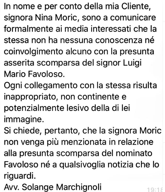 Nina Moric, 43 anni, fa sapere di non voler essere tirata in ballo in questa vicenda