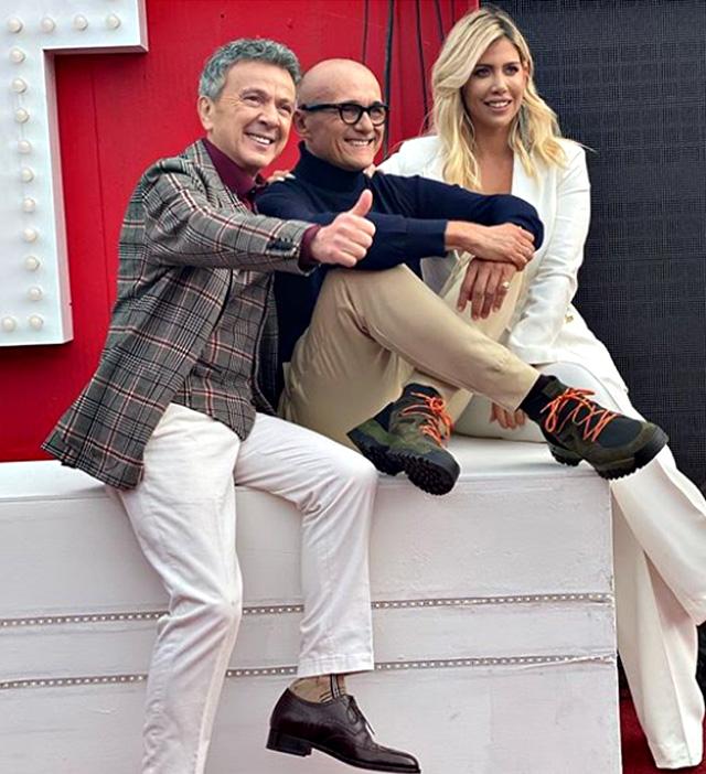 Alfonso Signorini, 55 anni, alla presentazione del Grande Fratello Vip con Pupo, 64, e Wanda Nara, 33