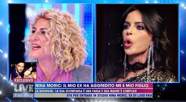 Nina Moric, 43 anni, e Loredana Fiorentino, madre di Luigi Mario Favoloso, si scontrano in diretta tv a 'Live - Non è la D'Urso'