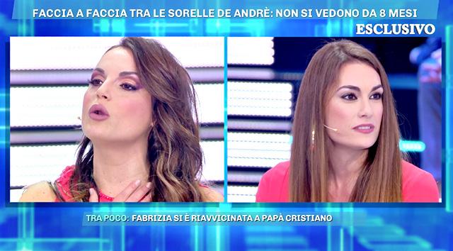 Francesca De André, 30 anni, e la sorella Fabrizia, 32, si sono di nuovo scontrate in tv a 'Live - Non è la D'Urso'