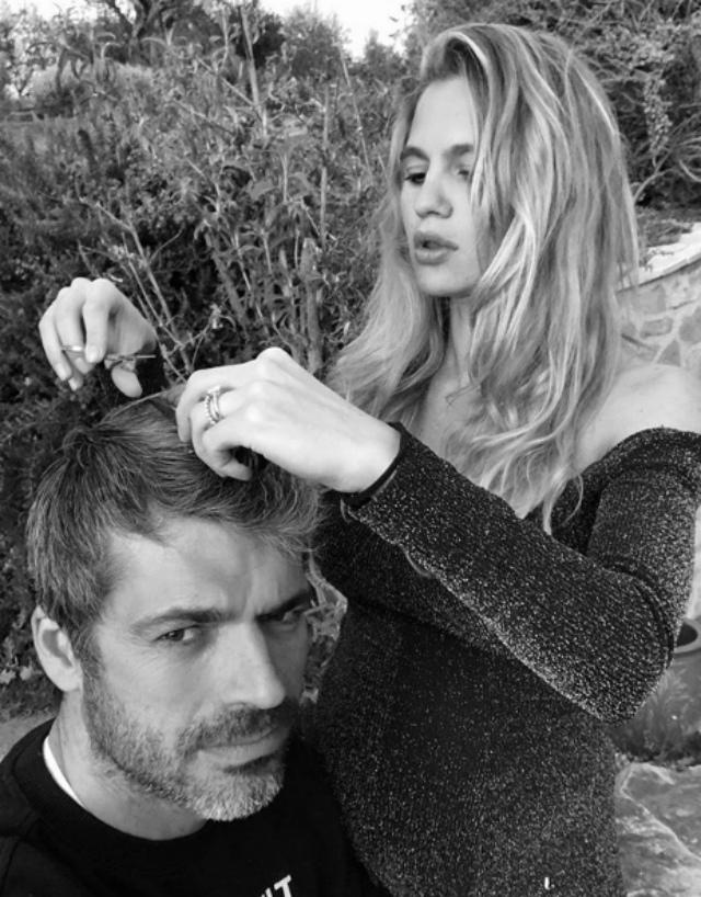 Cristina Marino in quarantena taglia i capelli a Luca Argentero