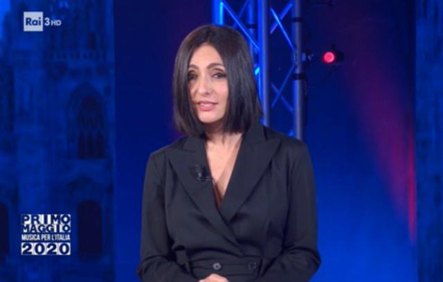 Ambra Angiolini, 43 anni, durante la conduzione del Concertone del primo maggio lo scorso venerdì sera su RaiTre