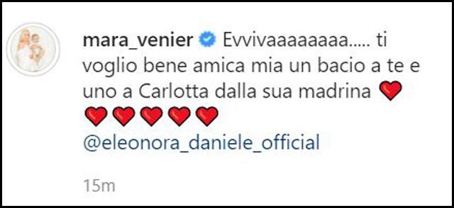 Il messaggio con cui Mara Venier, 69 anni, ha annunciato al mondo che Eleonora Daniele, 43, è diventata mamma