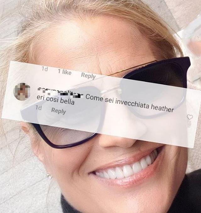Heather Parisi, 60 anni, risponde al commento di un utente sul social, che le ha scritto di vederla invecchiata