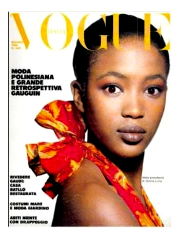 Naomi Campbell, oggi 50enne, sulla copertina di Vogue Italia nel 1988 con il viso 'grigio'
