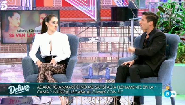 Gianmarco Onestini, l'ex Adara Molinero lo imbarazza in diretta tv: 'Ce l'ha piccolo'