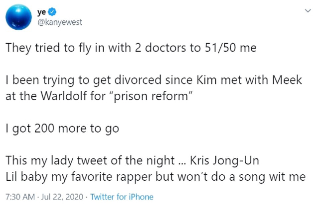Uno dei tweet cancellati di Kanye
