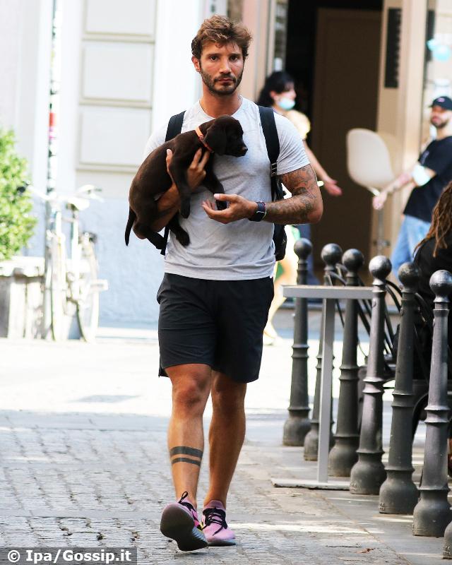 Stefano De Martino a spasso col nuovo cane incontra la storica amica di Belen: foto
