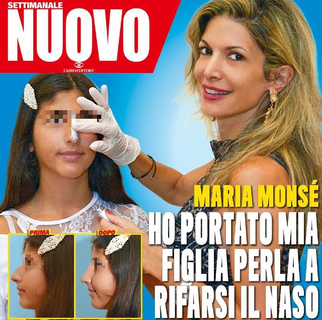 Maria Monsè mostra la figlia dopo il ritocco al naso: foto