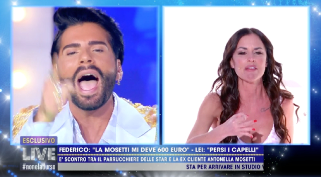 Federico Fashion Style e Antonella Mosetti, litigata epica in tv: lui le dice 'buffarola', lei 'ladro schifoso'