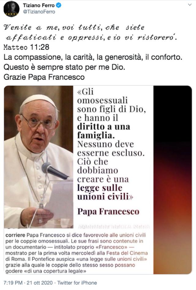 Papa Francesco: 'Sì alle unioni civili tra gay, hanno diritto a una famiglia'. La reazione di Tiziano Ferro