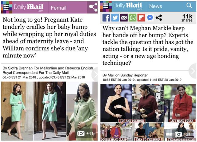 Due titoli del Daily Mail a confronto: uno sulla gravidanza della 'dolce' Kate, l'altro su quello della 'strana' Meghan