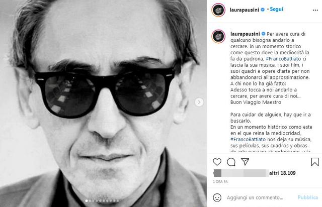 I messaggi del vip sul social addolorati per la morte di Franco Battiato