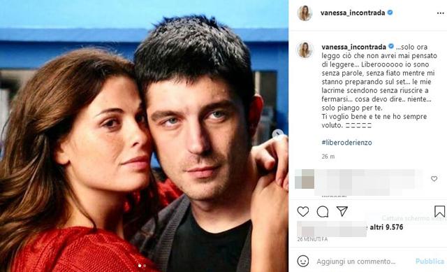 Il post di Instagram con cui Vanessa Incontrada ha ricordato Libero De Rienzo, morto a soli 44 anni e ritrovato senza vita nella serata di giovedì 15 luglio