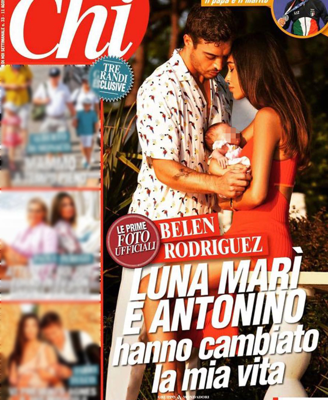 Belen Rodriguez, 36 anni, sulla copertina di 'Chi' con il compagno Antonino Spinalbese, 26, e loro figlia Luna Marì, 1 mese