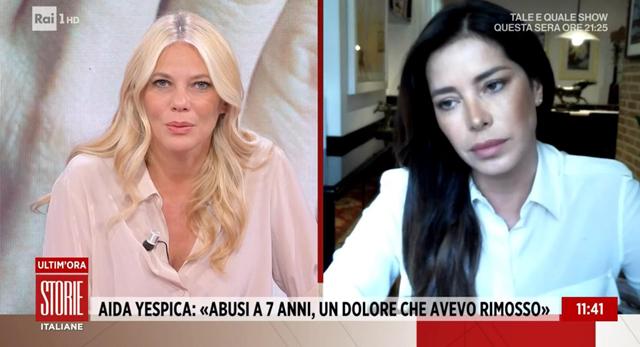 Aida Yespica, 39 anni, è tornata a 'Storie Italiane' per raccontare come mai non disse mai al padre di essere stata stuprata quando aveva 7 anni