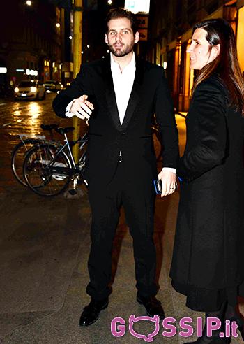 Tomaso Trussardi arriva alla festa di Michelle e Aurora
