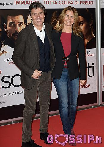 Luca Barbarossa con la moglie Ingrid