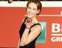 Cristiana Capotondi ha optato per un abito blu e nero lungo quasi castigato