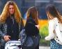 Belen fuori dal ristorante dopo aver pranzato con Elena Santarelli, Antonia Achille, la madre Veronica e Santiago