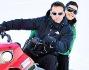 Daniel Ducruet e Kelly Marie Carla Lancien giocano sulla neve di Montecampione (BS)