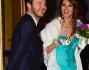 Alessandro Cattelan e Ludovica Sauer hanno optato per un abito classico blue con fiore all'occhiello per lui e un lungo abito verde acqua con scialle per lei