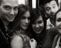 Foto di gruppo per Eleonora Pedron e Max Biaggi insieme allo staff di Sanremo